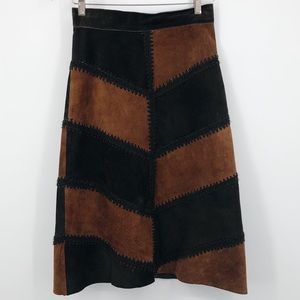 Maxima Wilson's Leather 8 Suede A Line Skirt Brown